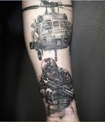 Collection Of 25 Nice Military Tattoo On Leg
