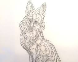Gray Fox 2D Wire Wall Art Sculpture By Elizabeth Berrien
