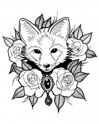Coloring Page Cute Fox With Roses