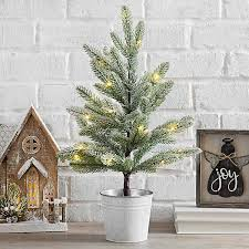 Pre Lit Mini Christmas Tree In Metal Bucket