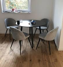 wayfair runder esstisch mit 4 stühlen samtoptik grau schwarz