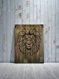 wandbild holz löwe