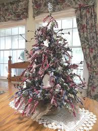 Primitive Christmas Tree 18 Table Or Desktop Decorated Snowman Homespun