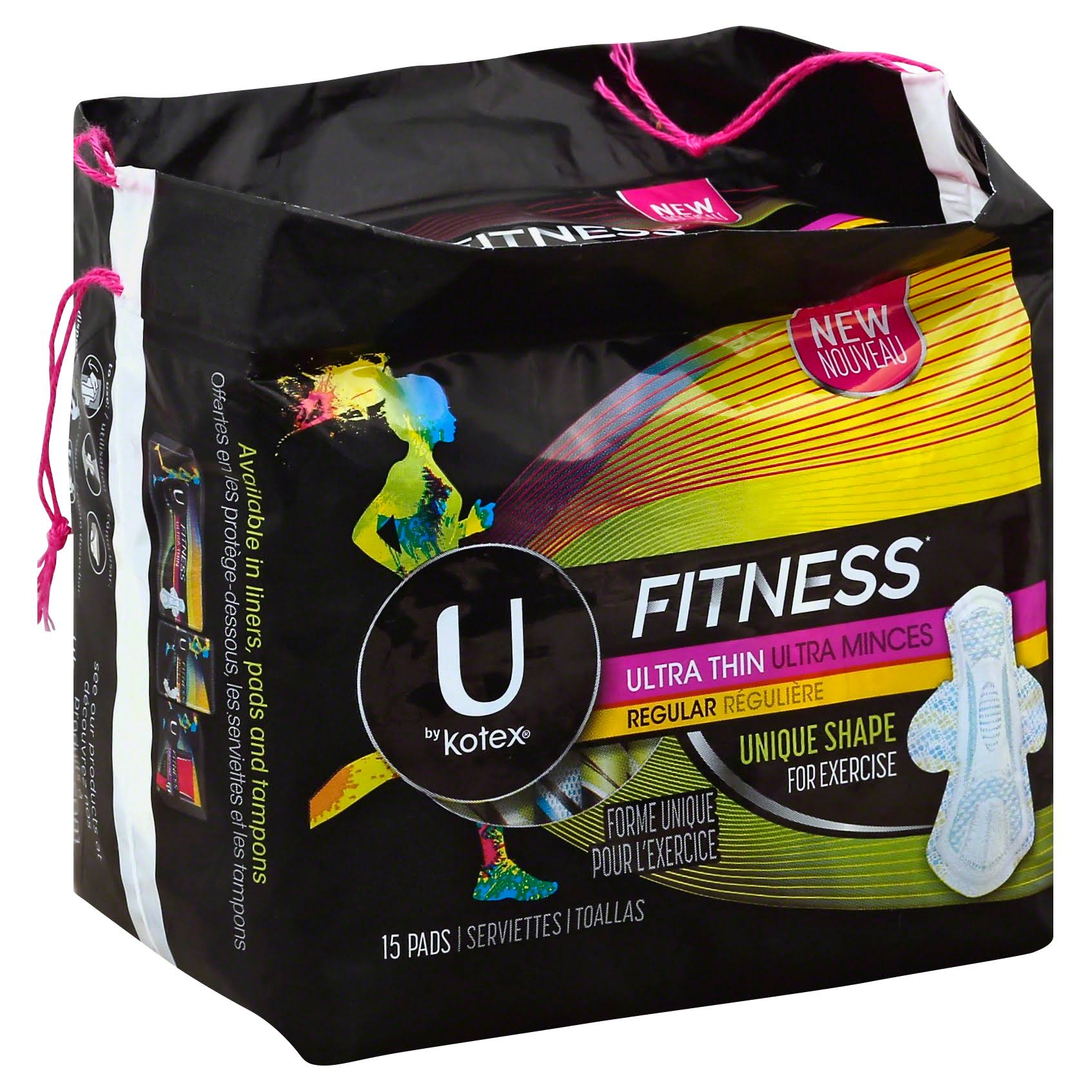 U by Kotex Fitness Ultra Thin Regular Pads - 15 Pack