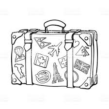 Hand Drawn Retro Style Travel Suitcase With Labels Royalty Free