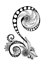 Zen Anti Stress Coloring Page Abstract Pattern Inspired By Flowers N