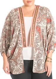 Eyeshadow Plus Size Embroidered Kimono New Brew Maple Women Juniors Clothing