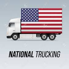 100 Trucking Usa Symbol Of National Delivery Truck With Flag Of USA National