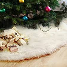 Fannybuy 36inch Christmas Tree Skirts Plush Faux Fur Skirt Decoration For Xmas Party