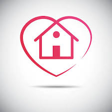 Love Home Icon Vector Design Art Illustration Cut Out Heart House Charity And Donation Silhouette Icons Flat Line