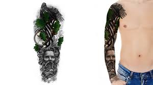 Custom Sleeve Tattoo Design Of An Oak Tree Perched By Eagle
