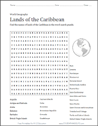 Caribbean Word Search Puzzle