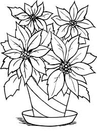 Poinsettia Flower Charming In Flowerpot Coloring Page