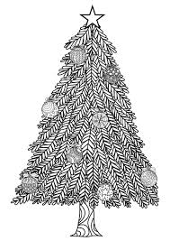 Christmas Tree Zentangle Style With Balls And A Big Star In The Top