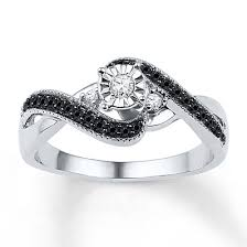 Kay Jewelers Diamond Promise Ring 1 4 Ct Tw Black White Sterling Silver Rings
