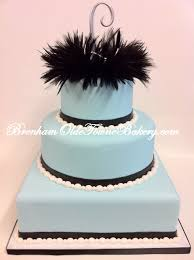 Black Feather Blue Wedding Cake