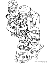 Gru Margo Edith Agnes And The Grus Minions Coloring Page