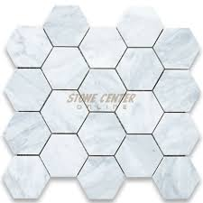 carrara white 3 inch hexagon mosaic tile honed marble from italy