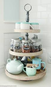Our Kitchen Tea Station And Tiered Trays For Storage