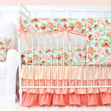 hadlee s mint coral floral bumperless crib bedding caden lane