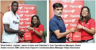 Digicel Representatives In Guyana Met The West Indies And Pakistan Teams Upon Arrival At Cheddie Jagan International Airport Timehri On Monday Ahead