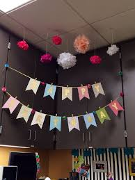 fice birthday decoration for my desk mate Scrapbook paper Gold spray paint Ribbon Tissue paper flowers