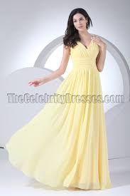 floor length yellow prom gown evening bridesmaid dresses