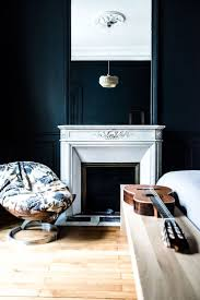 Dark Walls White Fireplace French Home