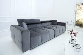 invicta interior elegantes big sofa heritage 290cm grau inkl kissen verstellbare kopfstütze wohnzimmer