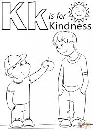 Letter K Is For Kindness Coloring Page Free Printable Pages With Regard To