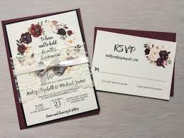 Marsala Wedding Invitation Burgundy Pink Lace Invite Set Rustic Floral Boho Chic Vintage