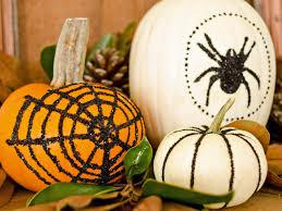 Halloween Decorating Idea BlackGlittered Pumpkins HGTV