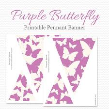 Purple Butterfly Printable Pennant Banner Birthday Party Etsy