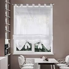 i home voile raffrollo 60 x 155 cm raffgardinen mit schlaufen fenstervorhang scheibengardinen für fenster weiß 60 x 155 cm