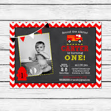 Firefighter Birthday Invitations New Firetruck Party Invitation Fire ...