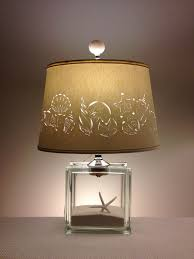 Fillable Craft Table Lamp by Glass Block Lamp With Hand Cut Seashell Lampshade Fillable