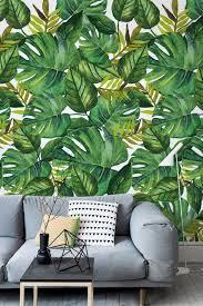 monstera und banane blätter tropical abnehmbare wallpaper