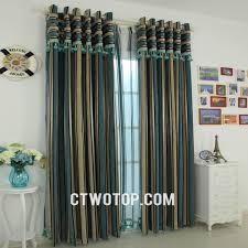 oriental stylish living room teal beige dark blue striped curtains