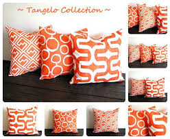 Orange Throw Pillows Contemporary Decorative Pillows Embroidered