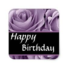 Elegant Happy Birthday Soft Purple Roses Square Sticker