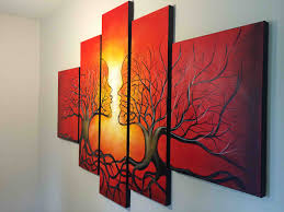 Red Abstract Oil Painting Framed Large Tree Roots Nature Canvas Rool
