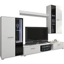 wohnwand salsa design mediawand modernes wohnzimmer set anbauwand hängeschrank vitrine tv lowboard weiß ohne beleuchtung