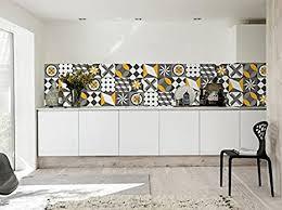 fliesenaufkleber vintage wandmuster geometrische gelb grau für küche dekoration ideen packung mit 36 15 x 15 cm