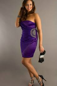 strapless side sequin beading purple short large size prom dress