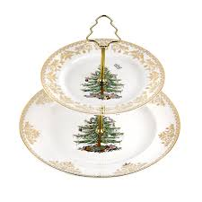 Amazon Spode Christmas Tree 2 Tier Cake Stand Gold Kitchen