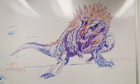 Dino Art OC Feathered T Rex Marker On Whiteboard