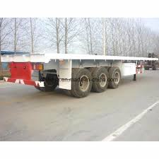 100 Tri Axle Truck China 40FT Air Suspension Flatbed Container Trailer