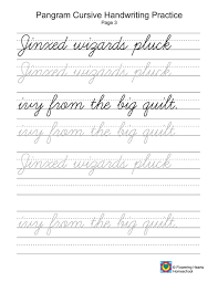 Pangrams Cursive Writing Tracing View The Full Image