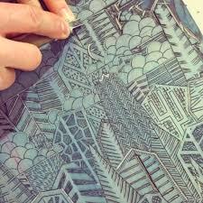 Carving The Linoleum Block With A Josei Sankaku To V Gouge