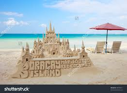 Sand Castle On Tropical White Stock Photo 49848631